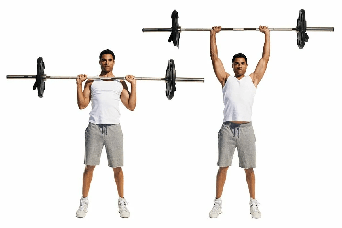Lifting the bar above you.  Source - Yandex.Pictures